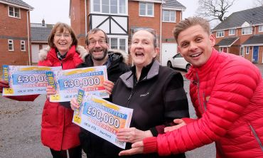 The lucky Hainford winners celebrate their wins with Jeff Brazier