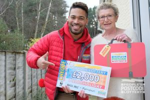 Danyl surprising Ferndown winner Pat with a fantastic Dream Holiday prize
