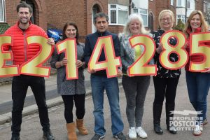 Our lucky Coventry winners, who each collected £214,285 cheques