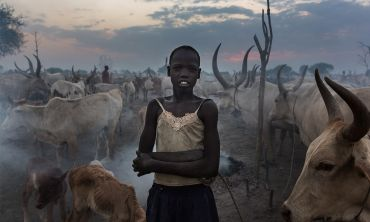 A young girl stands amid a herd of cattle outside Bor, the capital of Jonglei State