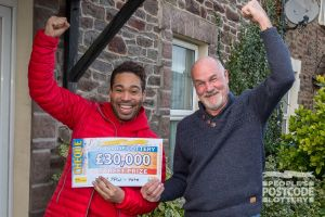 Lucky winner Steven with Danyl Johnson
