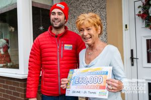 Josette collected an amazing cheque for £60,000 from Matt Johnson
