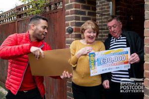 Danyl delivering a whopping Christmas surprise for Neville and Patricia
