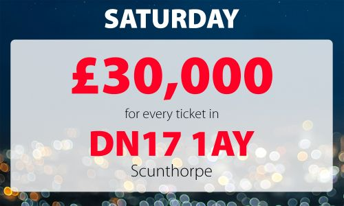 One player in postcode DN17 1AY has won £60,000 today