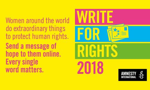 Amnesty's Write for Rights 2018 is continuing on from the success of their Spirit of Suffragette campaign