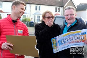Jeff surprising Worthing winner Neil and his wife Ella