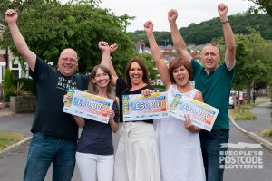 The happy winners were all over the moon with their cheques