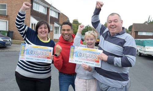 The lucky Kidderminster Street Prize winners with Danyl Johnson
