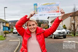 Stephanie with her fantastic £30,000 cheque