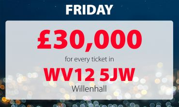 Five players in postcode WV12 5JW have won £30,000 today!