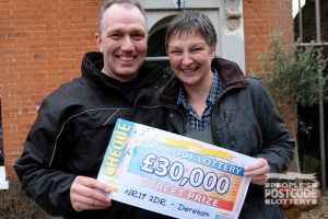 Winner Bronwen with her partner John, and their amazing £30,000 windfall