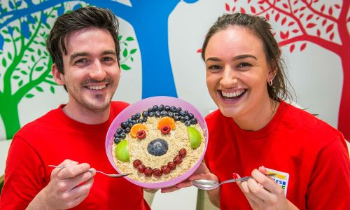 Members of People's Postcode Lottery's Charities team helped celebrate World Porridge Day with Mary's Meals