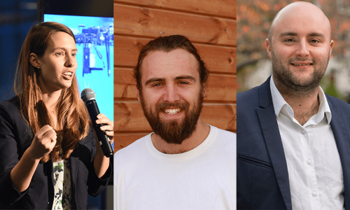 Lauren Fletcher, Charles Guy, and Adam Dixon are in the running to win €500,000 for their sustainable business ideas
