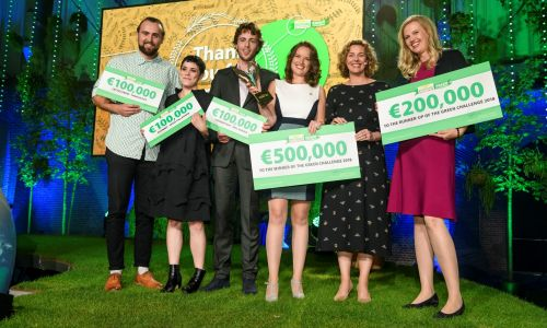 The Green Challenge finalists from 2018 with their cheques, with prize money ranging from €100,000 to €500,000