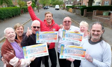 Our happy Nottingham winners with Street Prize Presenter Jeff Brazier