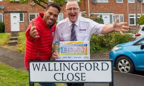 Danyl Johnson with Ian, one of our big Swindon Postcode Millions winners