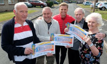 Lucky Burntwood winners Tony, Roger, and Ronald, with Jeff Brazier