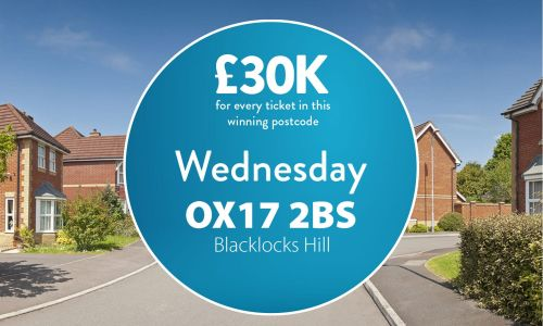 Today's #30KADAY Street Prize has landed in Blacklocks Hill. Two lucky winners with postcode OX17 2BS have each won £30,000 cheques.