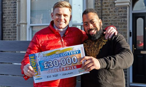 Jeff celebrating with Theo, one of our lucky Newham winners