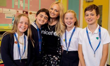 Emma Bunton spent time with pupils at a Unicef UK Rights Respecting School