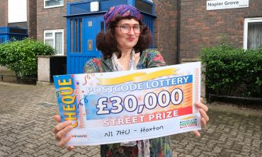 Our Saturday Street Prize Winner Tina holding her amazing cheque for £30,000!