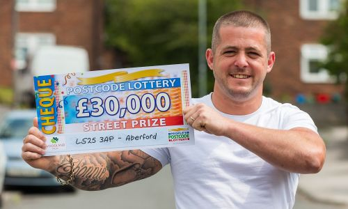 One of our lucky Aberford winners David with his £30,000 windfall