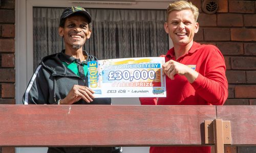 Our winner Bernard, alongside Jeff Brazier, and his cheque for £30,000!