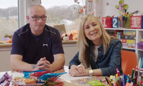 Fiona Phillips met service users, including Mark Perry, at the Jak's Den centre in Livingston