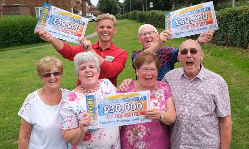Our delighted Tunbridge Wells winners with their lucky cheques and Street Prize Presenter Jeff Brazier