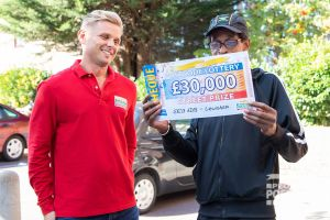 Jeff presented Lewisham winner Bernard with his amazing cheque for £30,000