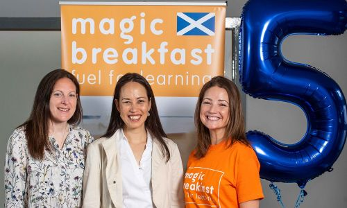 Laura Chow, Head of Charities at People's Postcode Lottery, with Clare Langley and Emily Wilkie