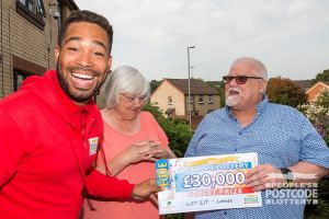 Barry and his partner Joan as Danyl reveals their £30,000 cheque