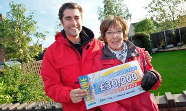Matt Johnson celebrating with Gillian, one of a trio of lucky Church Gresley winners