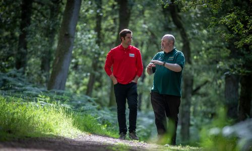 Matt Johnson with George Anderson from Woodland Trust in Kinclaven Bluebell Wood