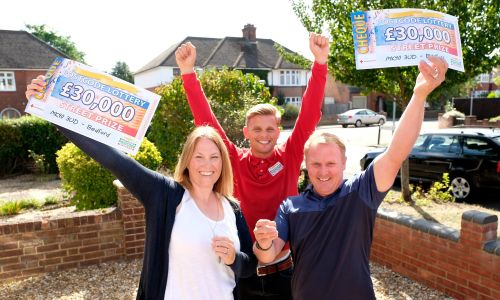 Jeff celebrates with our Bedford Street Prize winners, Louise and Steven