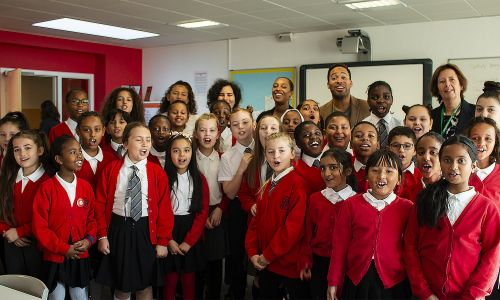 Danyl Johnson joined pupils for breakfast at Gifford Primary School in West London