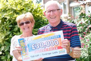 Happy winner Frank and his wife Janet with their wonderful £30,000 cheque
