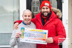 Matt with winner Alan and his whopping cheque