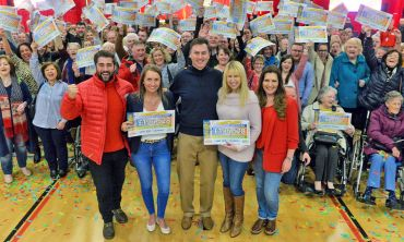 Some of our delighted Cwmbran Postcode Millions winners celebrating with Matt and Judie