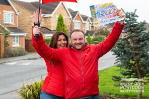 Andrew and Judie celebrating a £30,000 win