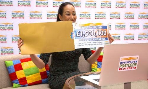 Laura Chow presented House for Healing with their amazing cheque for £1.5 Million via video call