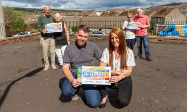 Our happy Galston Street Prize winners with their £30,000 windfalls